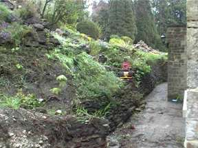 Excavations for dry stone wall