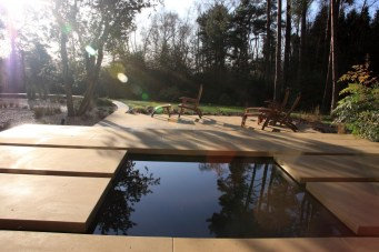 Steps across water feature