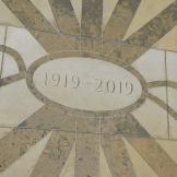 Paving detail in the Exbury Centenary Garden, Southampton. York stone inlaid with Caledonian slate.