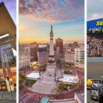 Left to right: Indiana Convention Center; Monument Circle in downtown Indianapolis; a previous running of the Indy 500 at the Indianapolis Motor Speedway