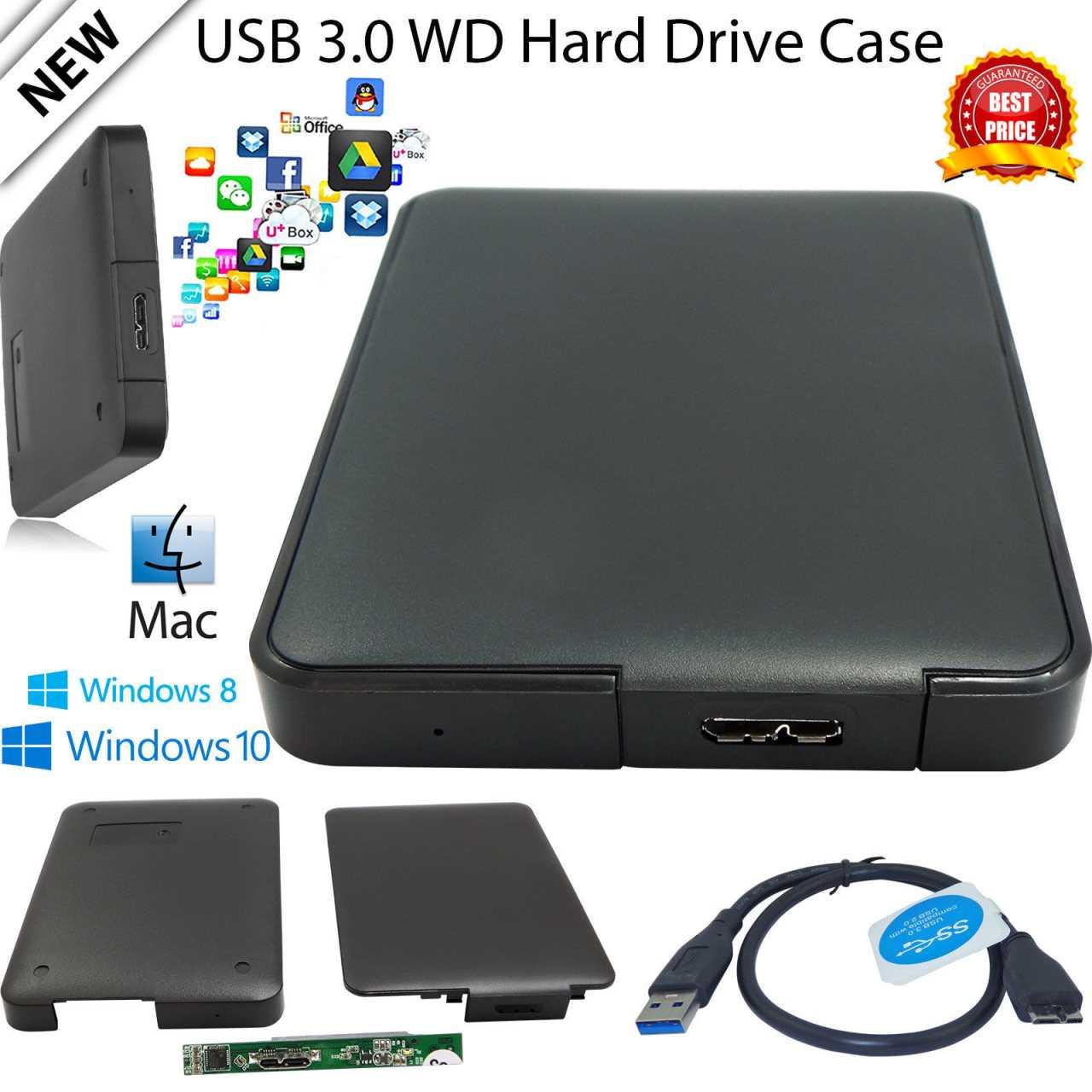 "External 2.5/"" HDD Enclosure USB SATA Hard Drive Black Caddy Case for Laptop PC"