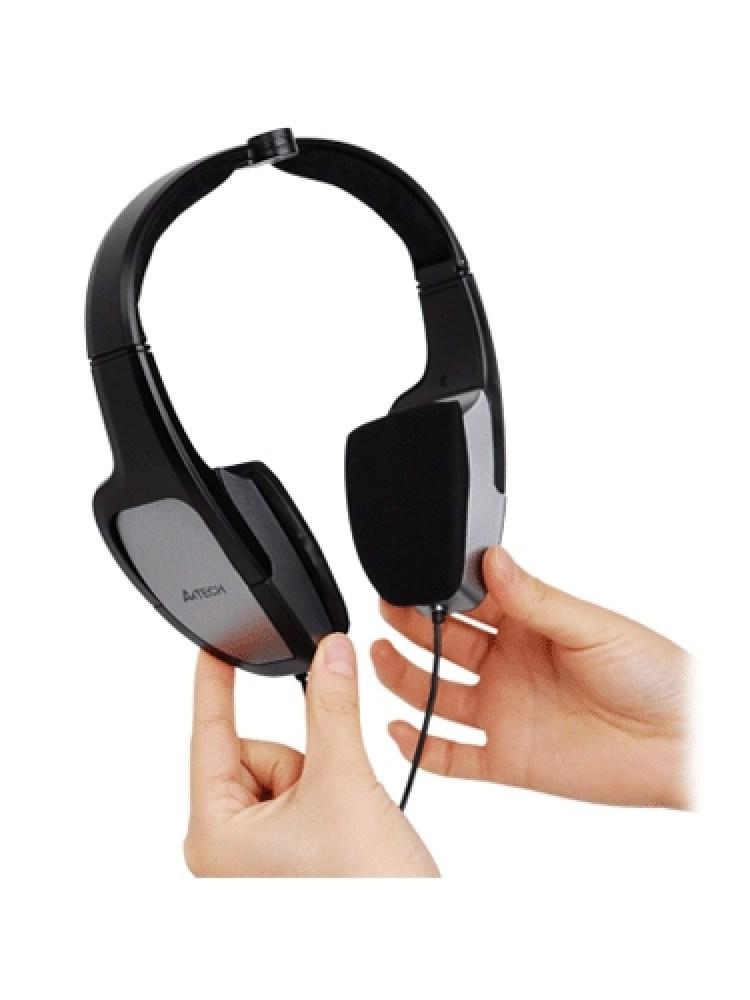 Casti A4TECH  Design pliabil, microfon + control volum pe fir, 'HS-105'