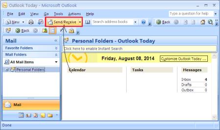 Outlook send receive