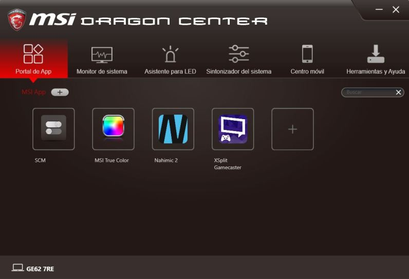 MSI DRAGON CENTER GE62 7RE 1