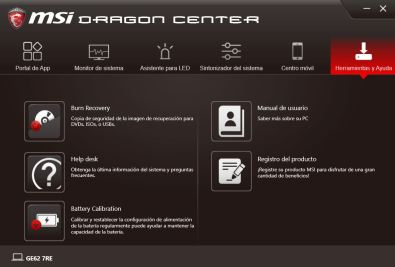 MSI DRAGON CENTER GE62 7RE 6