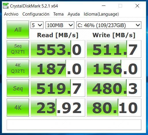 MSI GE62 7RE Apache Pro Análisis CrystalDiskMark SSD