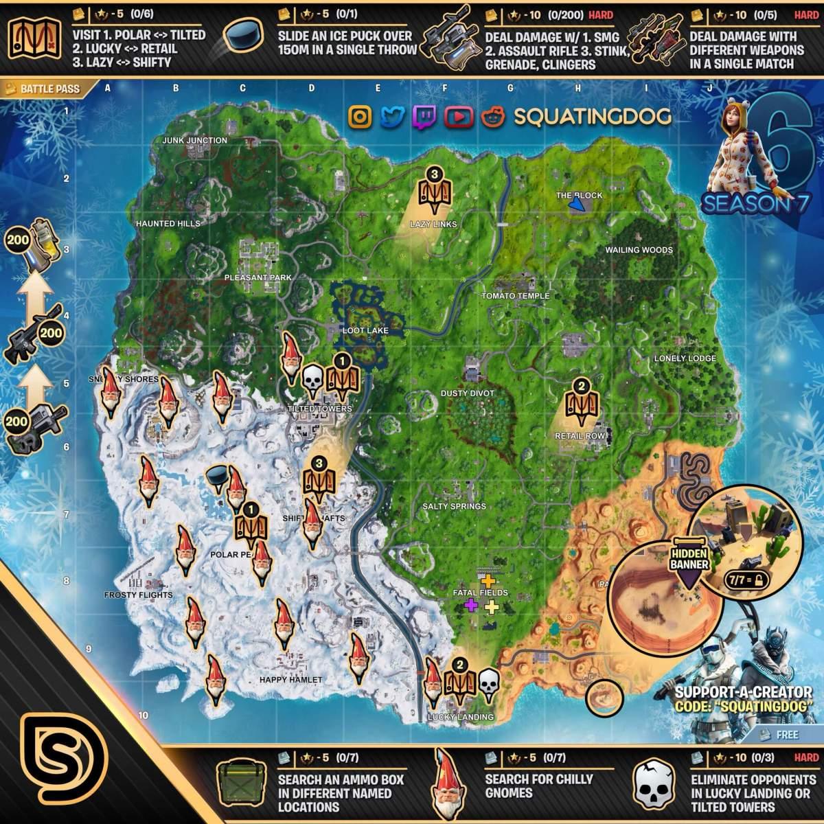 Fortnite desafios semana 6 temporada 7 - Mapa