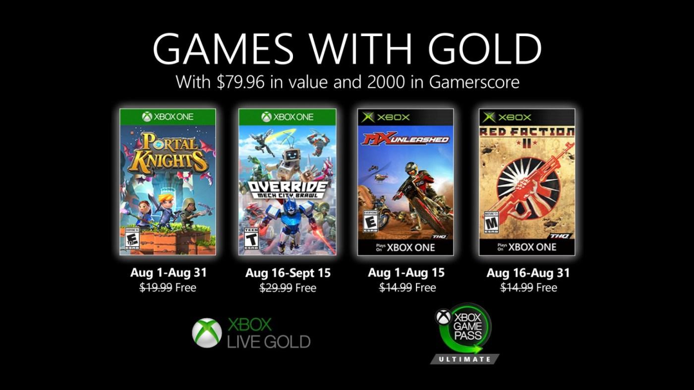 Xbox Games Gold Agosto 2020