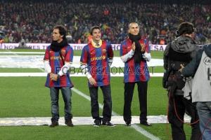 Toni Elías,Marc Marquez y  Jorge Lorenzo en el Nou Camp