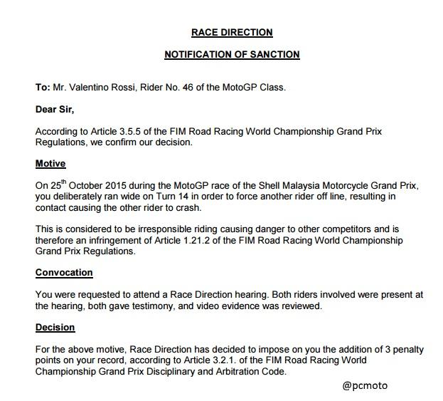 Circular de la Sanción a Valentino Rossi