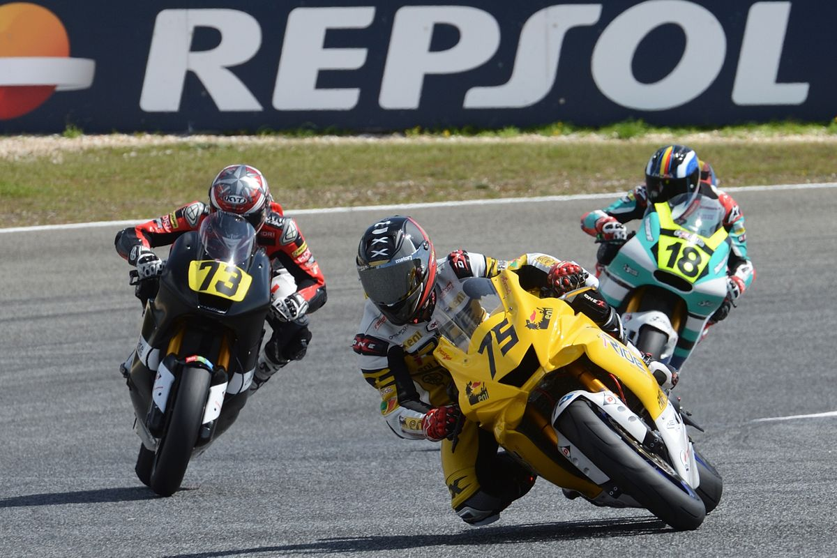 Ivo Lopes durante la carrera de Moto2 en Estoril