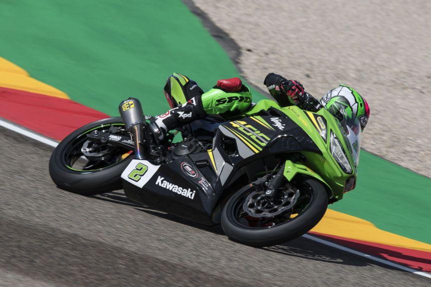 Ana Carrasco durante la carrera del Campeonato del Mundo de Supersport 300 en Motorland Aragón.