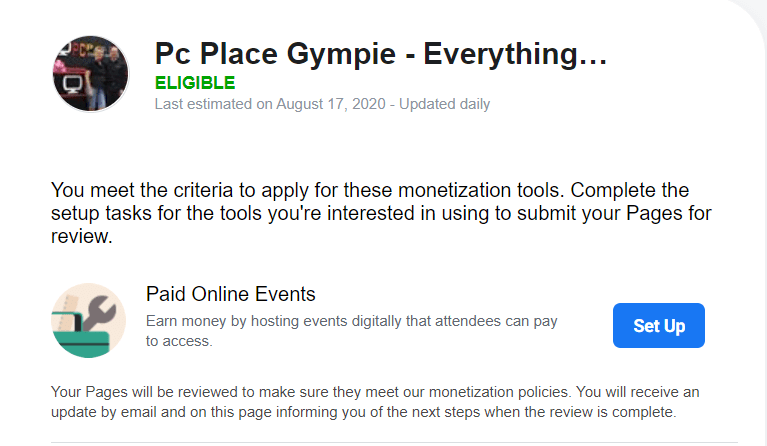PCPLACE eligible for Paid Online Events