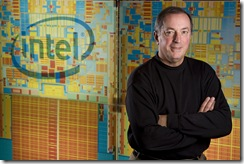 Recognizing the 60th anniversary of the transistor - a key component in a microprocessor - Intel President and Chief Executive Officer Paul Otellini displays the projected size of today's Intel® 45nm processors if the transistors were identical to those in Intel's first product in 1971.  Intel's innovations in transistor design ensure PCs and mobile devices are smaller, faster and more energy-efficient than ever.     While the Intel 4004 processor in 1971 housed some 2,300 transistors, our recently introduced Intel® 45nm Core™ 2 Extreme processor holds more than 820 million transistors.    Photo by Erin Lubin