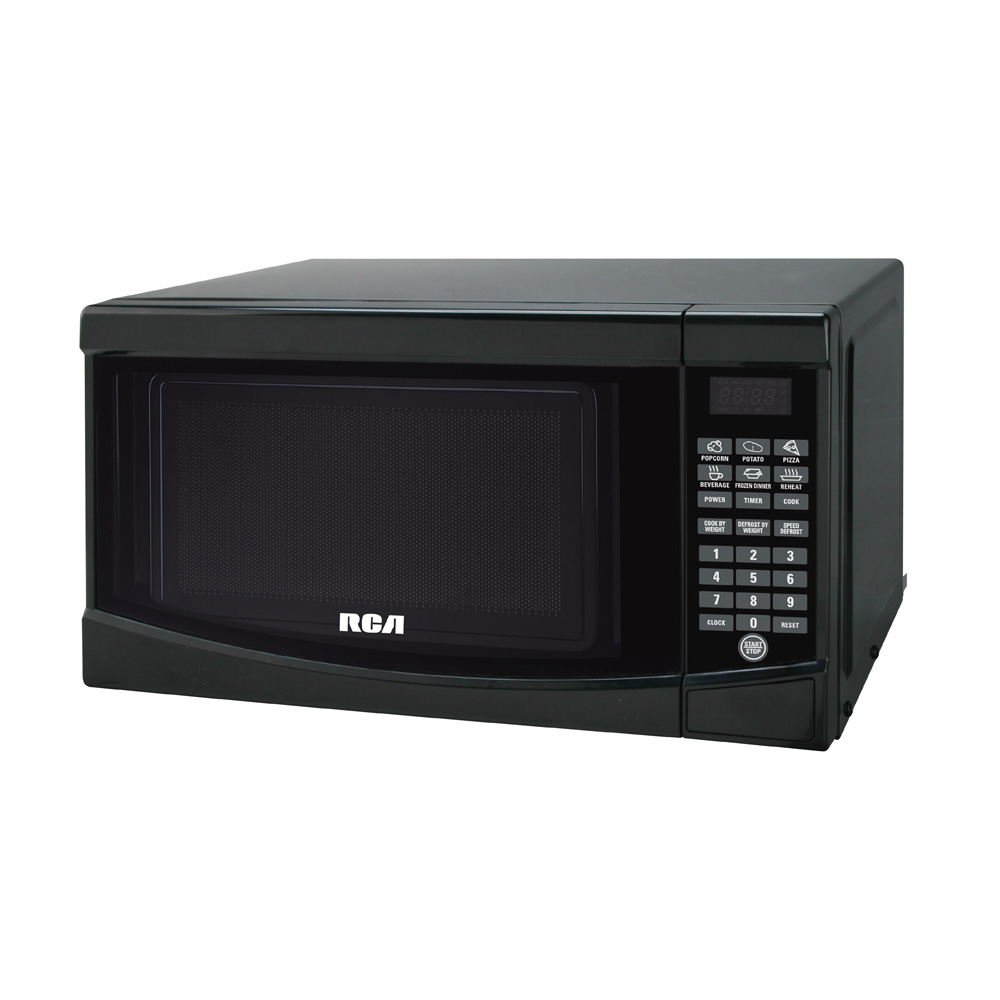 rca 18 0 7 cu ft countertop microwave with 10 power levels sensor cooking control black