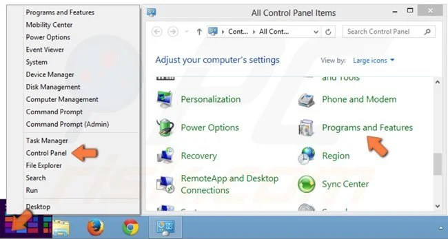 Accessing Programs and Features (uninstall) in Windows 8