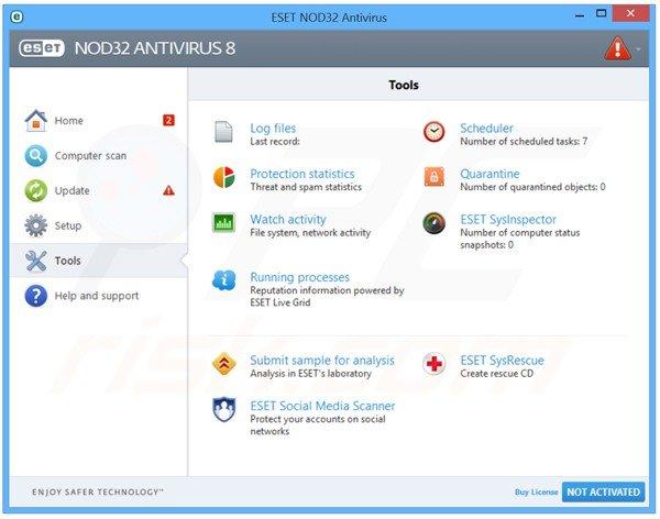 A interface do ESET NOD32 Antivírus 8