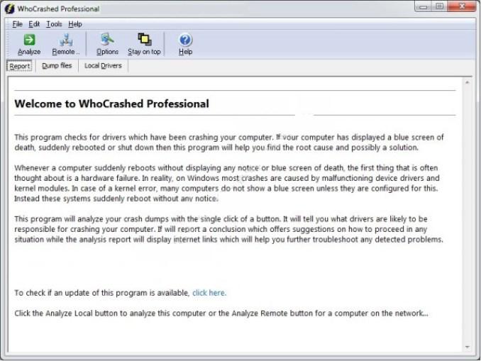 WhoCrashed Professional windows