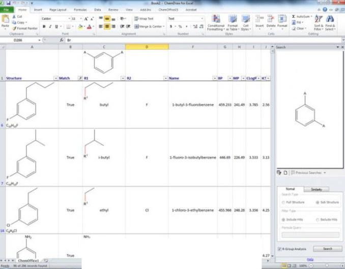 ChemOffice Suite windows