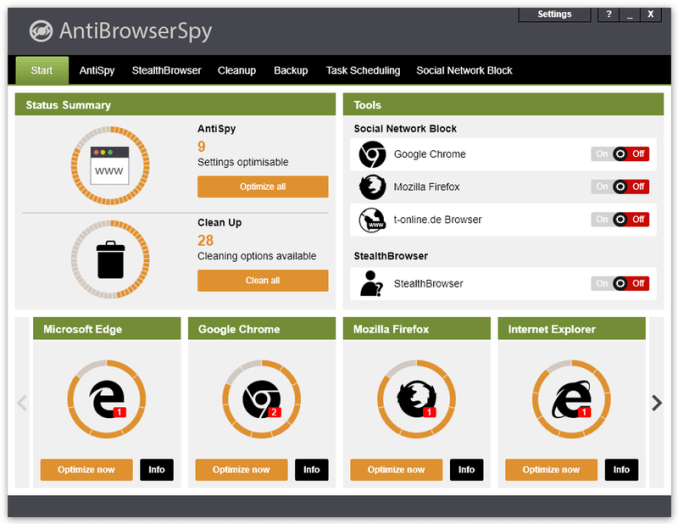 Abelssoft AntiBrowserSpy windows