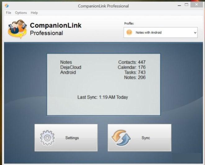 CompanionLink Professional windows
