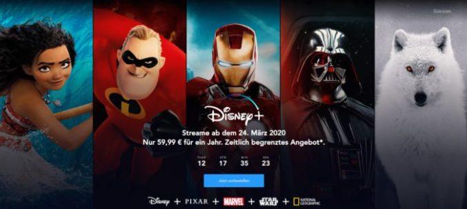 Zu sehen ist ein Screenshot der Disney-Plus-Seite zum Disney Plus Deutschland Start. Bild: Disney+