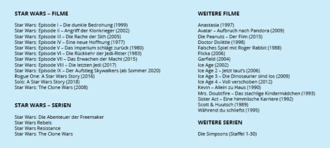 Zu sehen ist eine Auflistung der Filme und Serien von Star Wars sowie weitere Filme und Serien, die beim Disney Plus Deutschland Start dabei sind. Bild: Collage PC-SPEZIALIST / Quelle Disney
