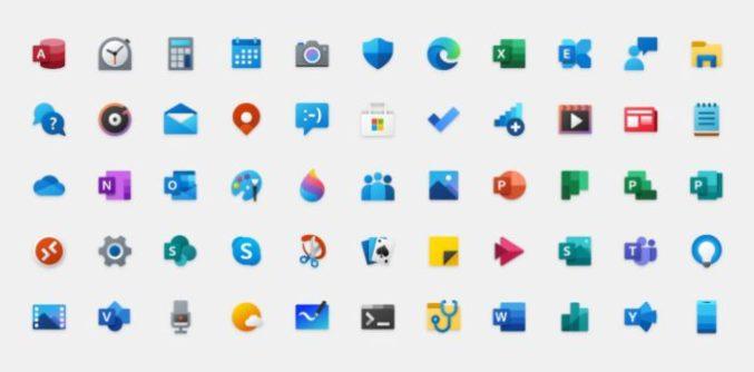 Zu sehen ist eine Übersicht der neuen Windows 10 Icons. Bild: Microsoft