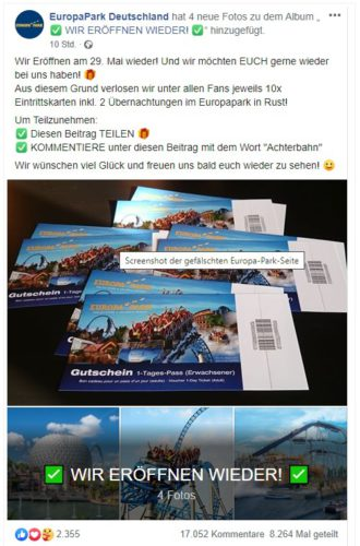 Zu sehen ist ein Screenshot, der ein Europa-Park-Gewinnspiel auf der falschen Facebook-Seite EuropaPark Deutschland zeigt. Bild: Screenshot