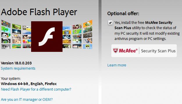 Flash Check Update Adobe