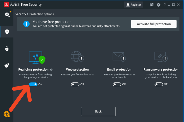 Avira Turn off Realtime Protection