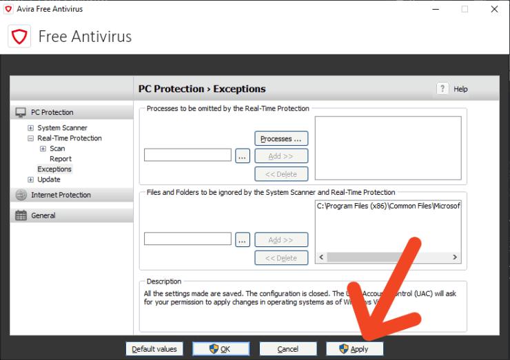 Avira Exclusion Button Free Antivirus
