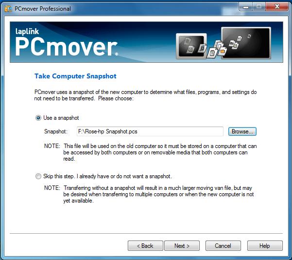 PcMover Trasnfer Snapshot