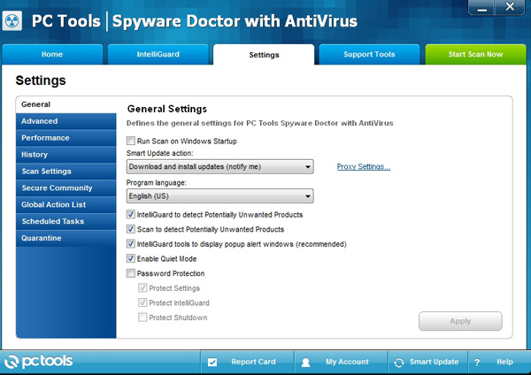 Spyware Doctor with Antivirus General Settings