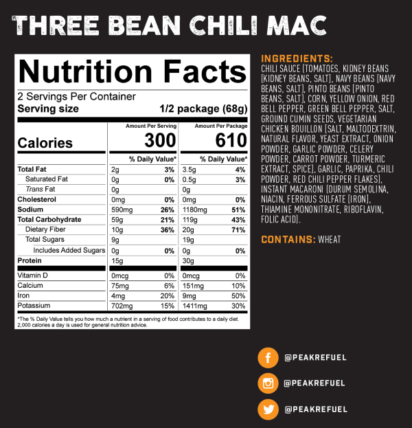 chili mac nutritional information