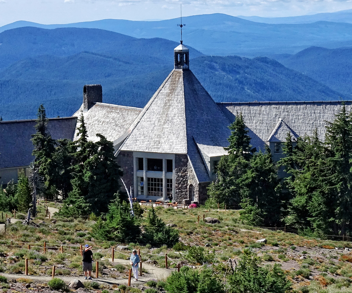 The historic Timberline Lodge on Mount Hood offers upscale lodging and dining in a rustic mountain setting.
