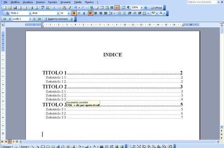 Come inserire indice su Word