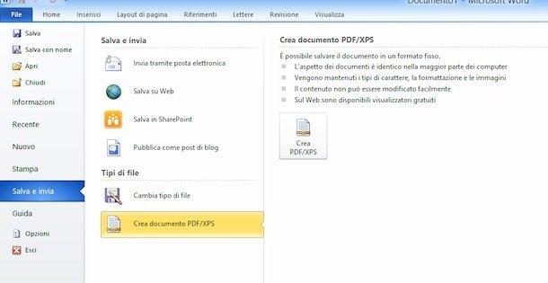 in questa immagine è presente una foto di un documento word che indica di salvare un file in PDF