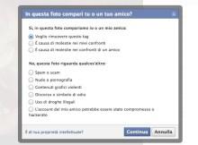 in questa immagine compare la schermata di facebook che permette di rimuovere il tag da una foto