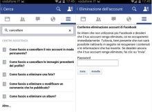in questa immagine viene mostrato il centro assistenza facebook per disattivare account facebook.