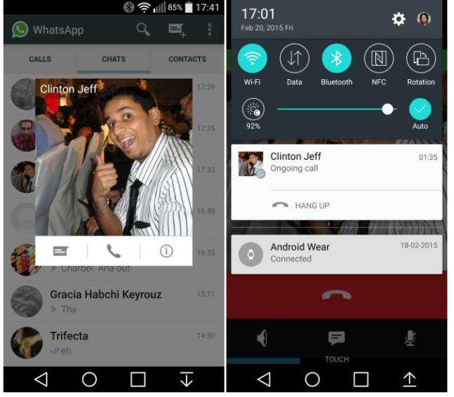 in questa immagine c'è lo screen shot di una chiamata su whatsapp