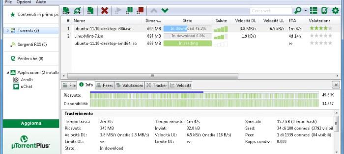 questa immagine mostra la schermata principale di utorrent