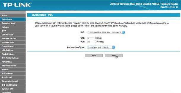 questa immagine mostra il pannello di amministrazione del modem tp-link