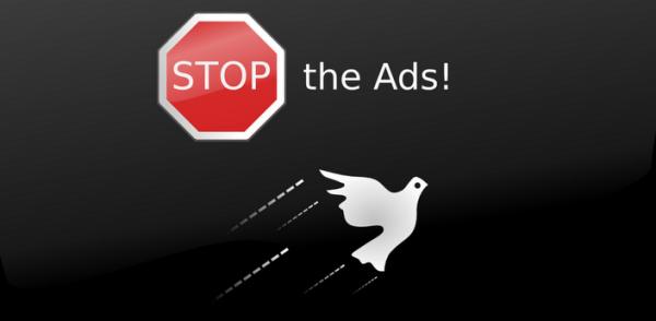 questa immagine mostra la scritta stop the ads con il simbolo dello stop e la sagoma di una colomba.