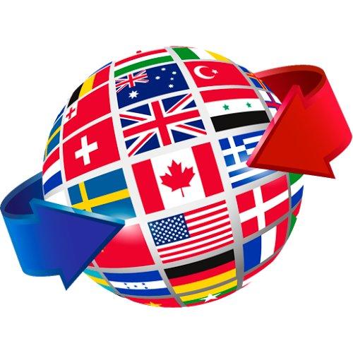 un mappamondo con sopra tutte le bandiere del mondo disegnate. Due frecce laterali una blu ed una rossa
