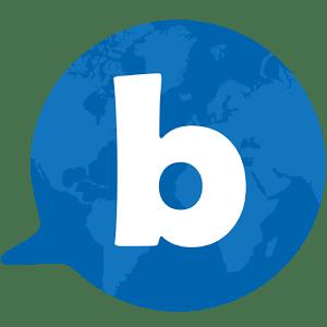 vignetta con sfondo del mondo blu e una b in centro