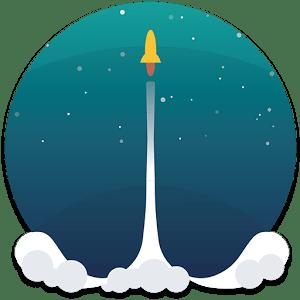 navicella spaziale che si alza in volo su un cielo stellato