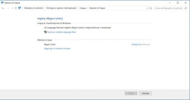 screenshot opzioni lingua windows 10 con inglese