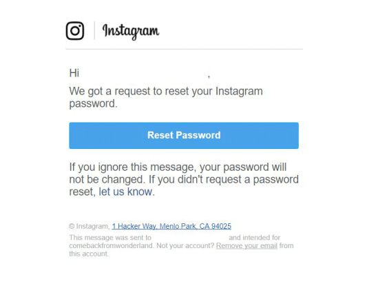 E-mail per ripristino password recupero account Instagram