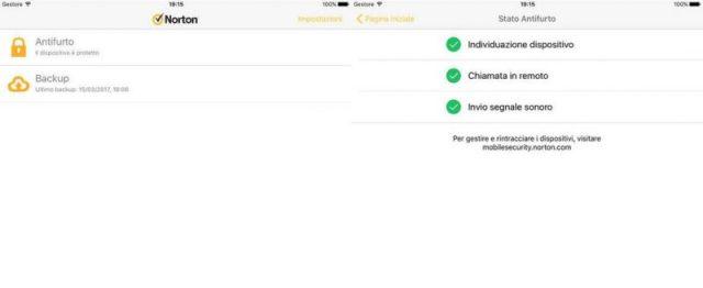 Screenshot dell'antivirus Norton